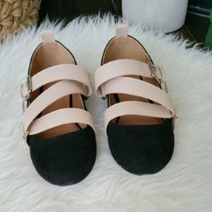 Qupid Strappy Buckle Flats Pink & Black Size 7
